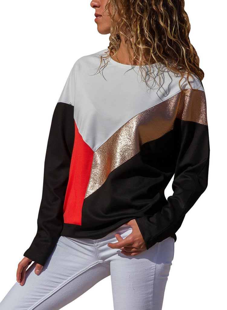 Color Block Leatherette Splice Sweatshirt (LC251504-1-1)