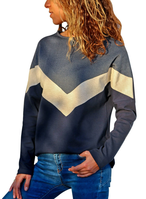 Chevron Colorblock Long Sleeve Top (LC251505-11-1)