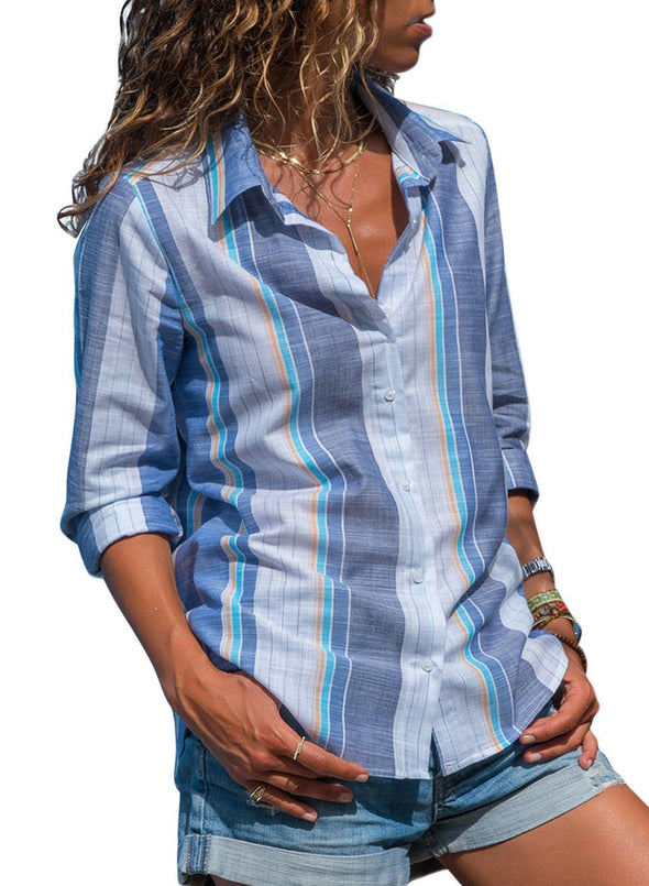 Striped Long Sleeve Front Knot Shirts