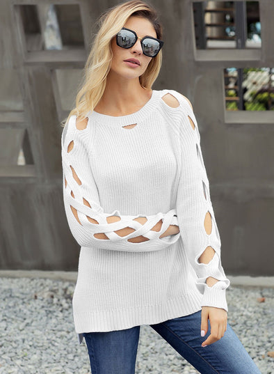Cutout Detail Ribbed Knit Sweater (LC27822-1-1)