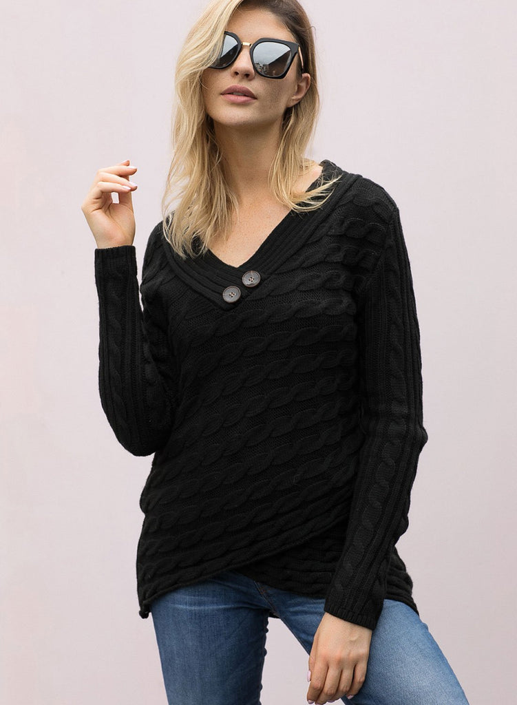 Buttoned Sweetheart Neck Cable Knit Sweater (LC27833-2-1)