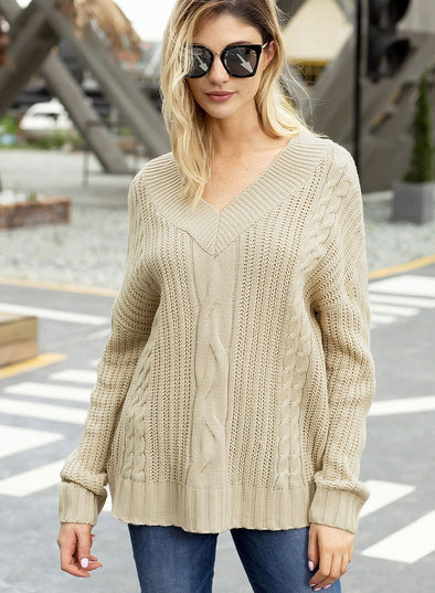 Cable Knit V Neck Sweater (LC27873-16-1)