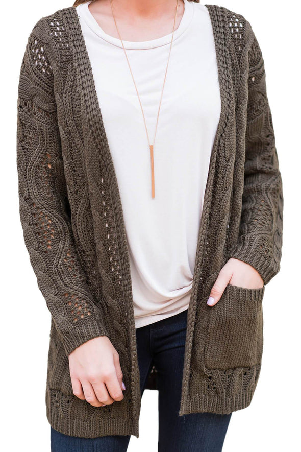 Hollow Out Open Front Cardigan with Pockets
