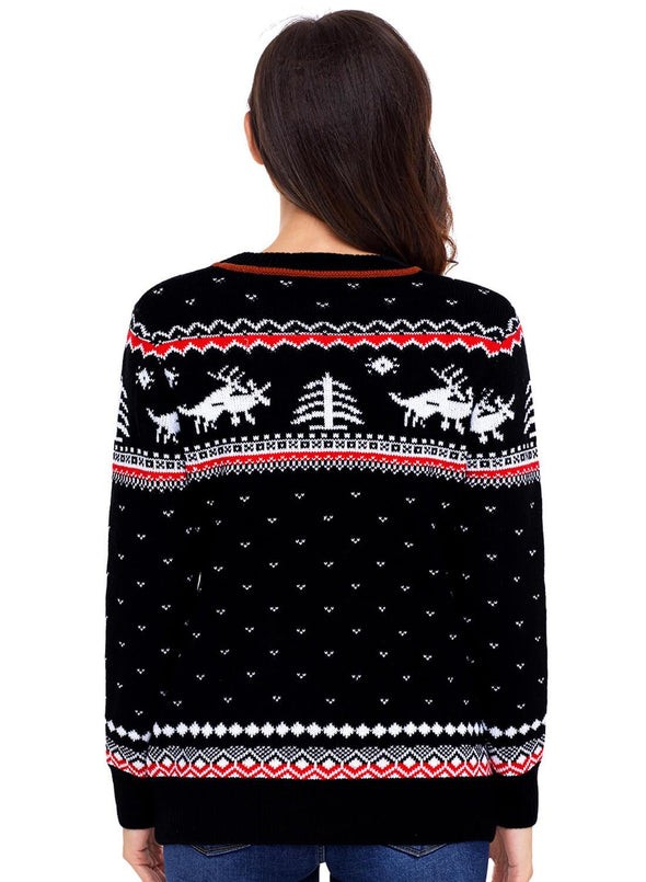 Christmas Reindeer Knit Sweater (LC27790-2-2)