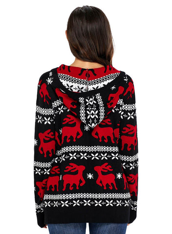 Cute Christmas Reindeer Knit Hooded Sweater (LC27785-2-2)