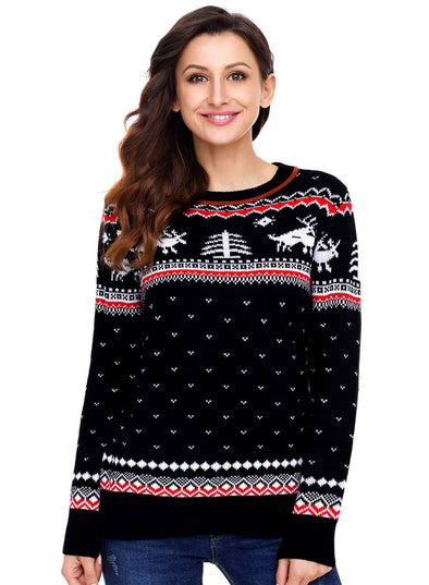 Christmas Reindeer Knit Sweater (LC27790-2-1)