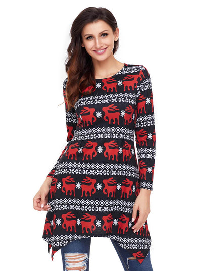 Cute Christmas Reindeer Print Swingy Mini Dress (LC220212-2-1)