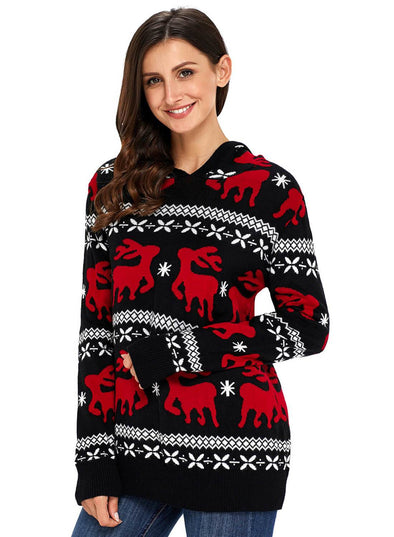 Cute Christmas Reindeer Knit Hooded Sweater (LC27785-2-1)