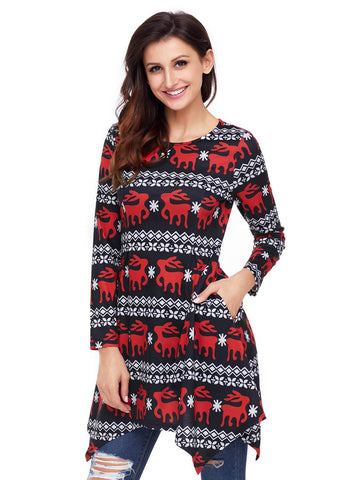 Image of Cute Christmas Reindeer Print Swingy Mini Dress (LC220212-2-3)