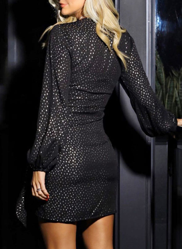 Solid Sequin Long Sleeve  Black Mini Dress