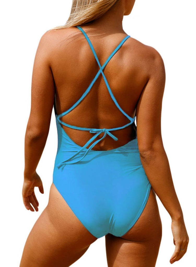 Crochet Front Detail One Piece Bathing Suit (LC410196-4-2)