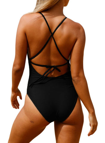 Image of Crochet Front Detail One Piece Bathing Suit (LC410196-2-2)