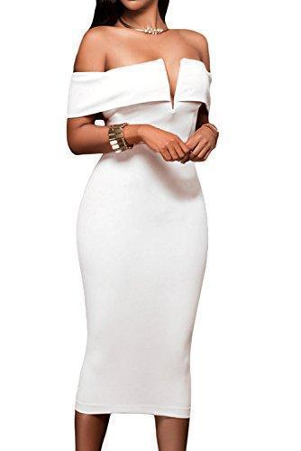 V Neck Off Shoulder Evening Bodycon Midi Dress