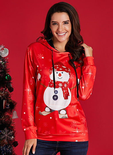 Christmas Pullover Snowman Pattern Hoodie (LC251683-3-1)