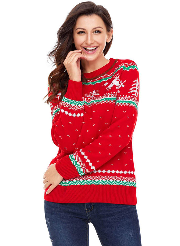 Christmas Reindeer Knit Sweater (LC27790-3-1)
