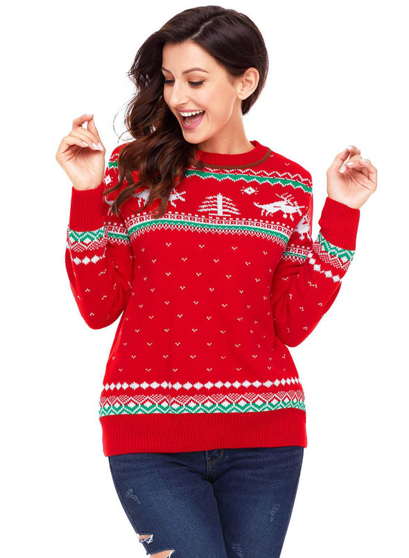 Christmas Reindeer Knit Sweater (LC27790-3-3)