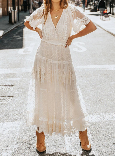 V Neck Tunic Lace Maxi Dress