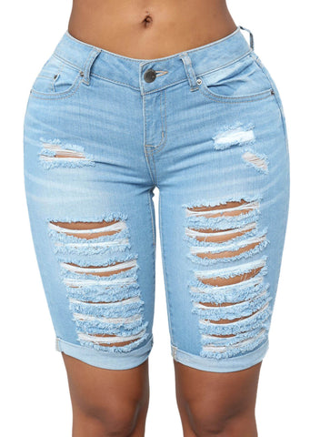 Denim Ripped Bermuda Shorts (LC786100-4-1)