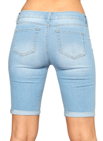 Denim Ripped Bermuda Shorts (LC786100-4-2)