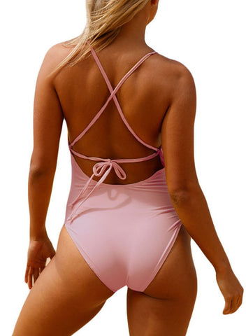 Image of Crochet Front Detail One Piece Bathing Suit (LC410196-10-2)