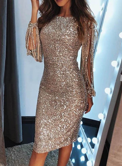 Sequin Tassel Sleeve Bodycon Evening Dress