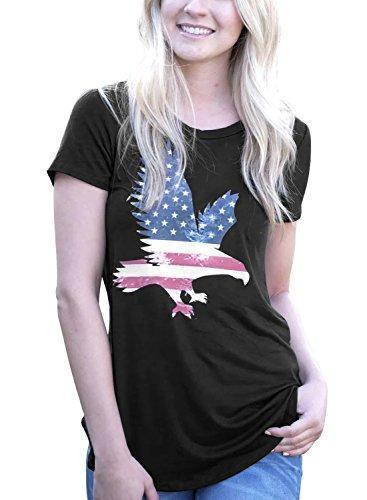 Short Sleeve Eagle America Flag T-Shirt Tops Graphic Tees