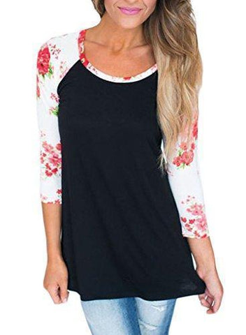 Image of 3/4 Sleeve Floral T Shirt Tops