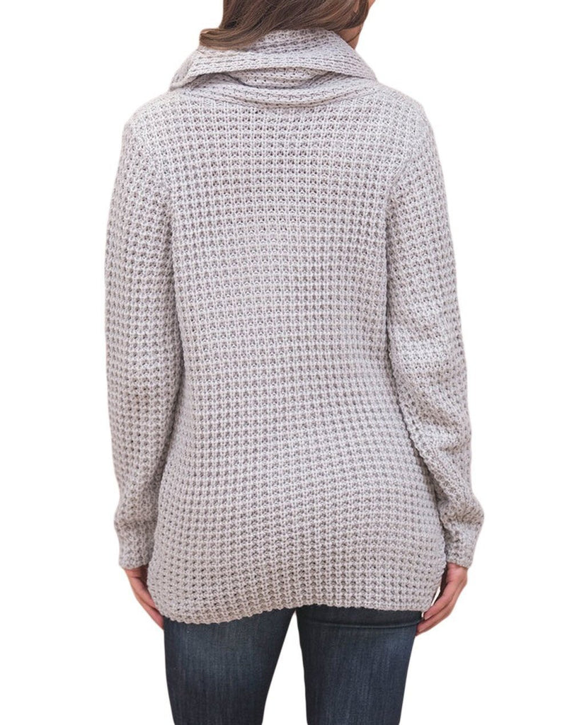 Buttoned Wrap Cowl Neck Sweater