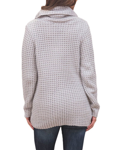 Image of Buttoned Wrap Cowl Neck Sweater