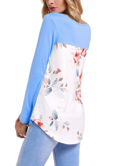 Crisscross Neck Floral Back Long Sleeve Top (LC250433-5-1)