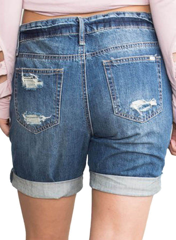 Denim Distressed Boyfriend Denim Shorts (LC786092-5-2)