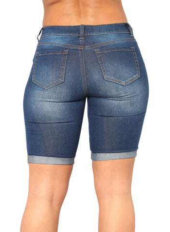 Denim Ripped Bermuda Shorts (LC786100-5-2)