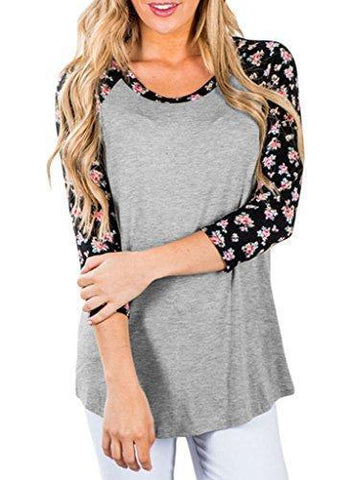 3/4 Sleeve Floral T Shirt Tops