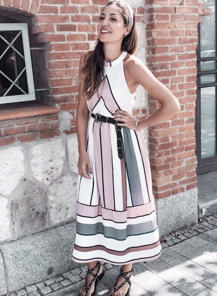 Striped Sleeveless Halter Neck Midi Dress with Pockets