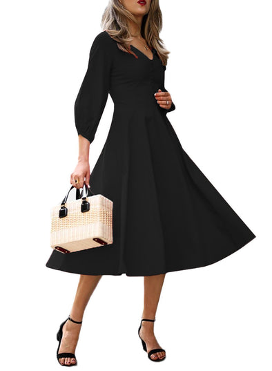 Button Front Balloon Sleeve Dress (LC610282-2-1)