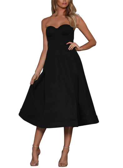 Cupped Strapless Midi Dress (LC610389-2-1)