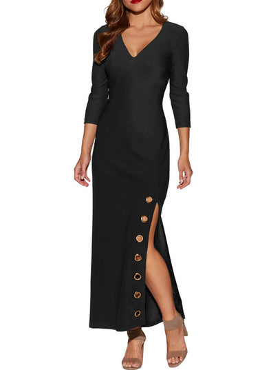 Grommet Side Slit Accent Maxi Dress