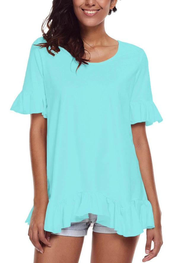 Turquoise Ruffle Trim Short Sleeve Flowy Top