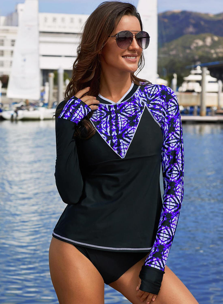Asymmetric Color Block Rashguard Swim Top (LC410982-8-4)