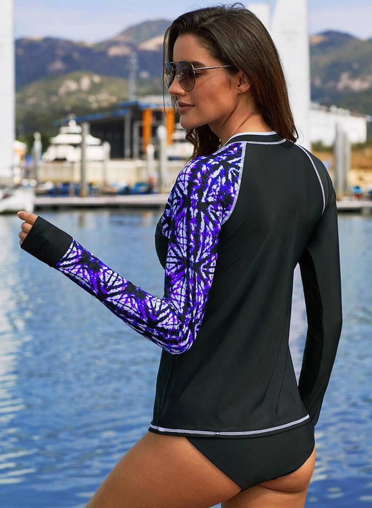 Asymmetric Color Block Rashguard Swim Top (LC410982-8-2)