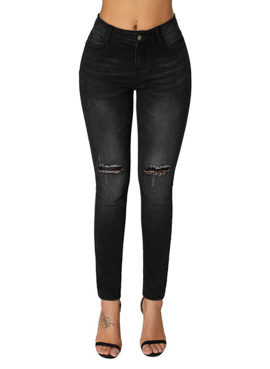 Black Ripped Cutout Knee Denim Jeans (LC786055-2-1)