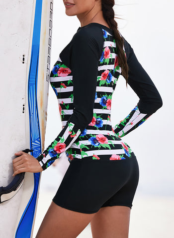 Striped Floral Patchwork Long Sleeve One-piece Swimsuit