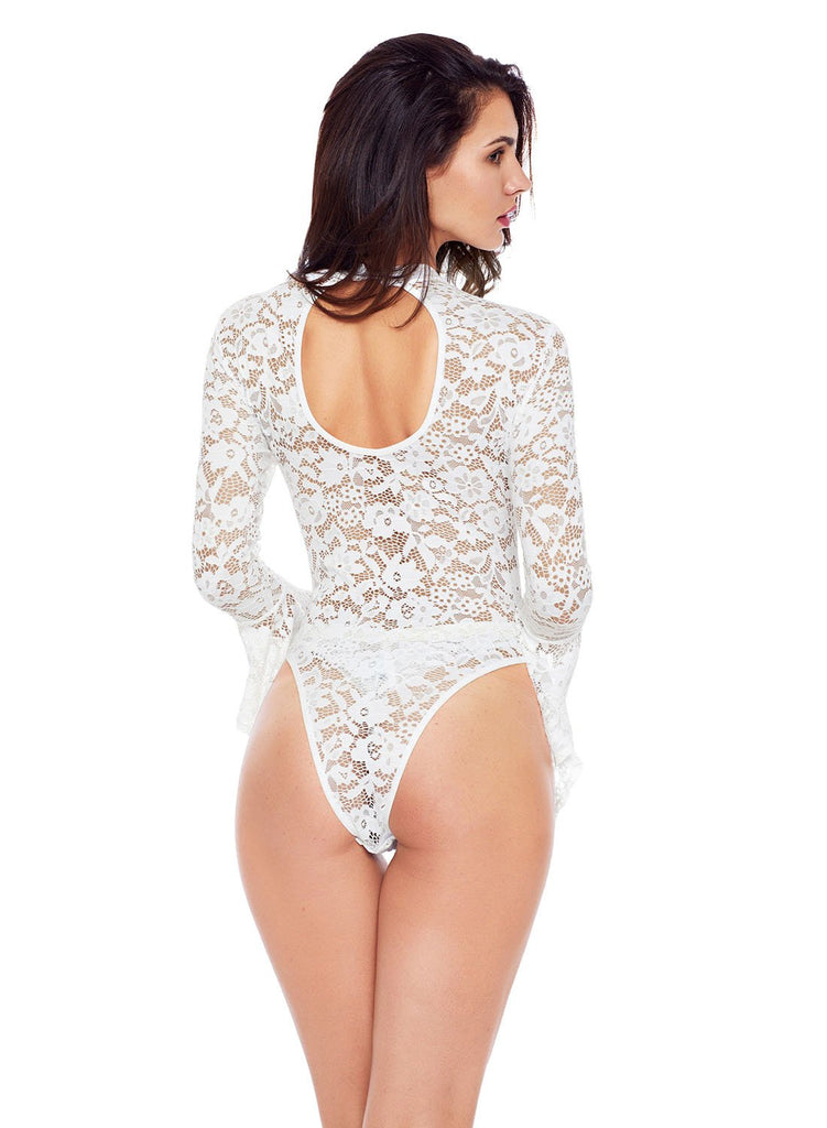 Sheer Floral Lace Long Bell Sleeve Bodysuit(LC32158-1-2)