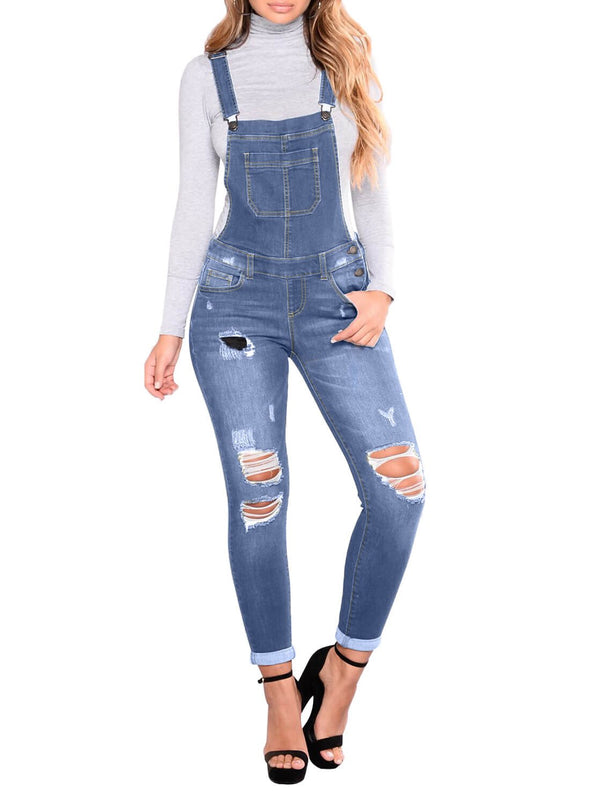 Wash Distressed Denim Overall