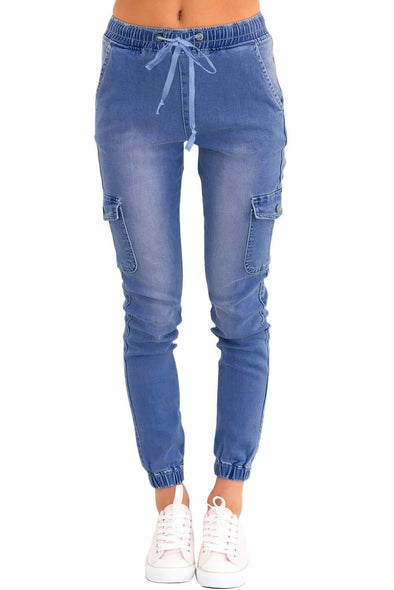 Drawstring Ankle Pocket Denim Jeans (LC786042-4-1)