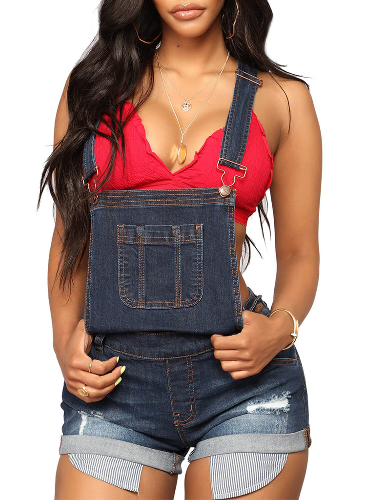 Denim Turn Up Cuffs Short Overalls (LC786088-3-1)