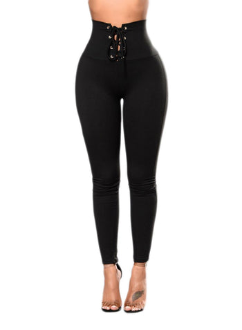 Lace-up High Waist Cincher Leggings