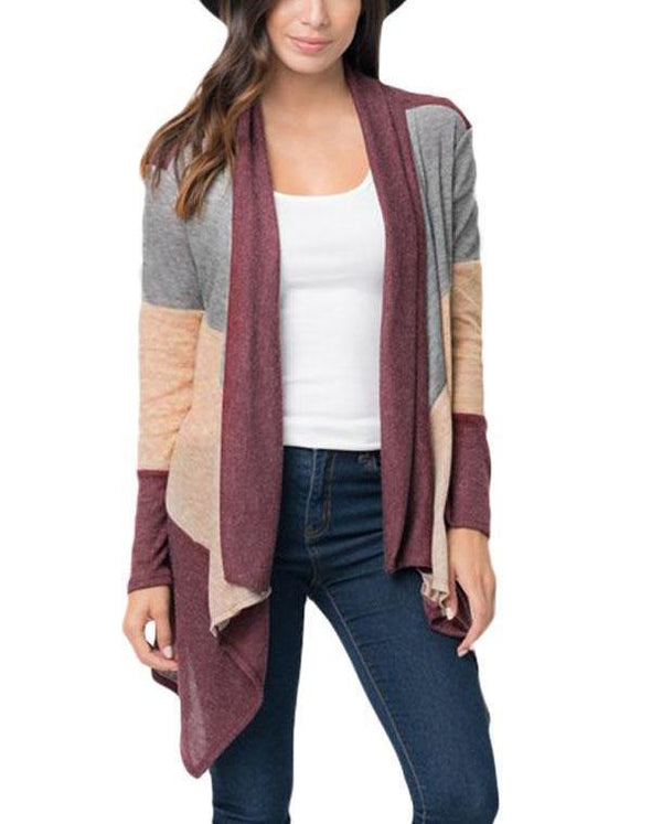 Wine Shawl Neck Colorblock Long Sleeve Cardigan