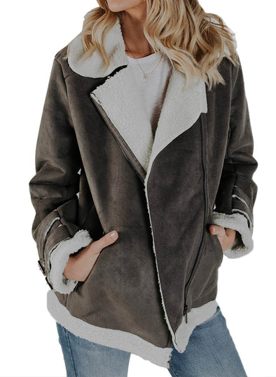 Zip Pockets Faux Suede Jacket