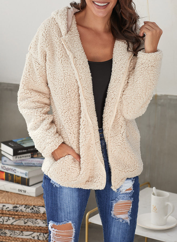 Zip Down Furry Hooded Jacket